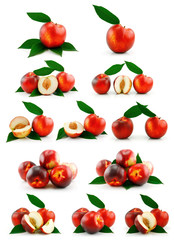 Set of Ripe Peaches (Nectarine) Isolated on White
