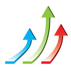 3d arrows pointing upwards - rising economy