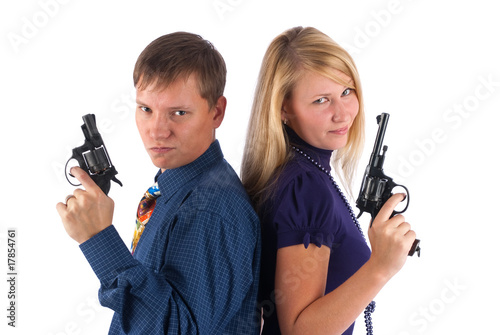 man and woman with guns