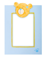 glamourous blue photo frame with teddy bear on it