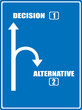 A blue highway sign showing the way to decision.