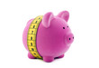 Piggy bank with measure tape. Clipping path included.