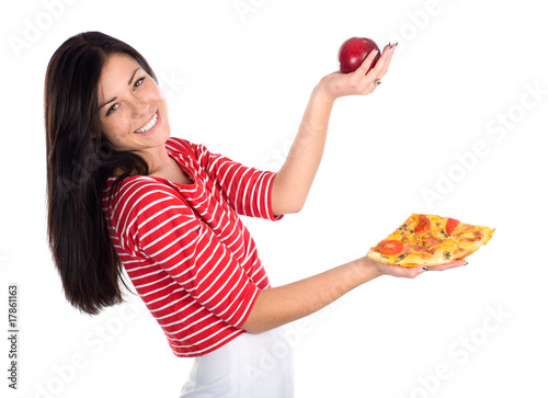 Cutie juggles with apple and pizza