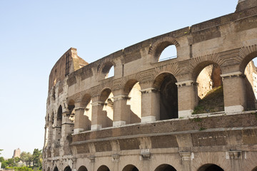 Coliseum with City in Distance