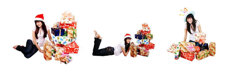 Portrait of a beautiful girl with a pile of presents