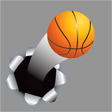 Basketball coming out of hole