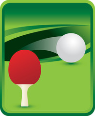 Ping pong paddle and ball on green background