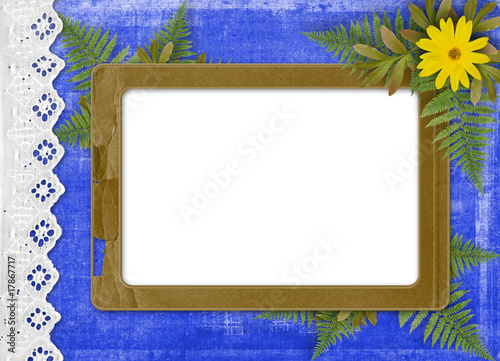 Paper frame with floral beautiful bouquet on the blue background