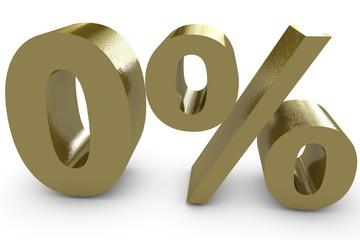 Null Prozent in goldener farbe - 3d