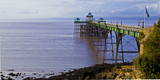 Clevedon pier. A Victorian pier against backdrop of Welsh cost. poster