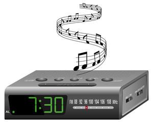 radio-réveil avec mélodie