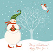 cute christmas snowman with bird