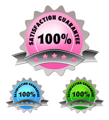 Colorful label of satisfaction guarantee