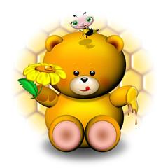 Orso Peluche e Miele-Honey Teddy Bear-Ourson et Abeille