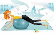 Sexy woman exercising with a pilates ball.