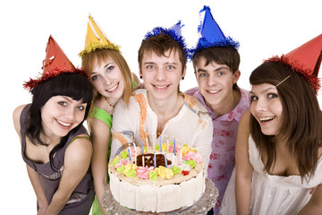 Group of people with cake celebrate happy birthday.Isolated.