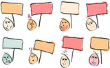 8 Doodle Faces with Signs poster