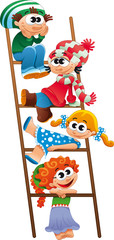 Staircase with children. Funny vector and cartoon scene.