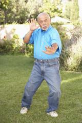 Senior Man Doing Tai Chi In Garden