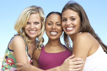 Group Of Three Female Friends Having Fun Together