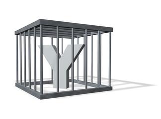 der buchstabe y in einem käfig