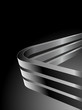 Abstract dark vector background with bent 3D steel bars