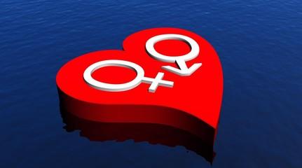 Heterosexual couple in red heart floating in the ocean
