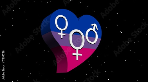 Bisexual woman in flag color heart in stary night