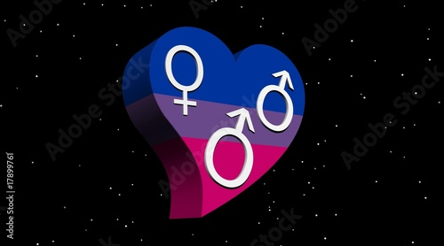 Bisexual man in flag color heart by night