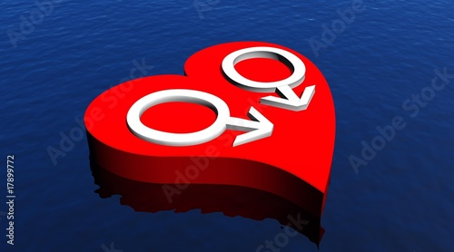 Gay men couple in red heart floating in the ocean