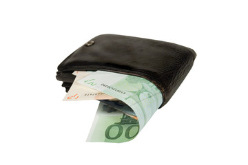 Euro bills in an old black leather wallet (isolated on white)
