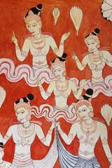 Buddhist Wall Painting at Golden Temple, Sri Lanka