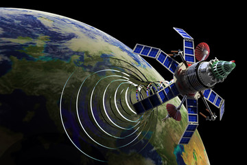 Communication satellite. Hi-res digitally generated image.