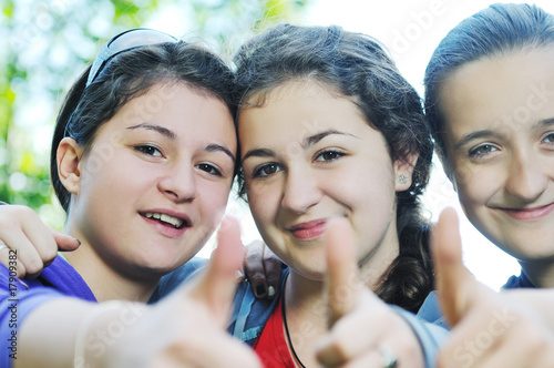 teen girls group outdoor