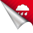 Rain or storm weather icon on peeling corner tab