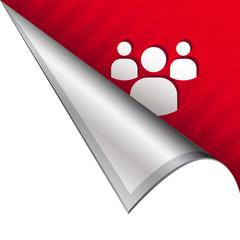 Social media icon on peeling corner tab