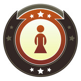 Female icon on imperial vector button with star accents poster