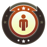 Male icon on round red and brown imperial vector button poster