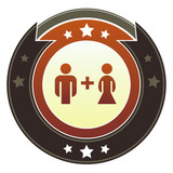 Male and female or unisex icon on imperial vector button poster