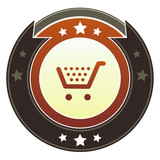 Shopping cart or checkout icon on imperial vector button poster