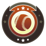 Baseball icon on round imperial vector button poster