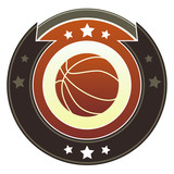 Basketball icon on round imperial vector button poster