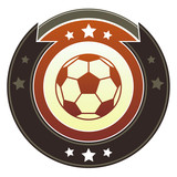 Soccer or football icon on round imperial vector button poster