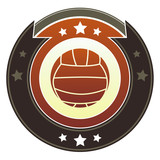 Volleyball icon on round imperial vector button poster