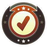 Check mark, approve, or add icon on imperial vector button poster