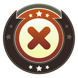 X, close, or delete icon on imperial vector button poster