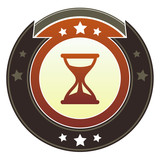 Hourglass, timer, or wait icon on imperial vector button poster