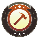 Hammer, repair, or fix icon on imperial vector button poster