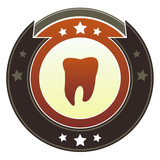 Tooth, dentist, or checkup icon on imperial vector button poster
