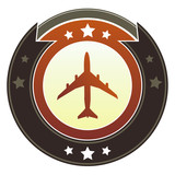 Airplane, jet, or airport transportation icon imperial button poster